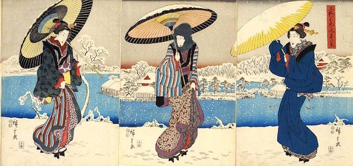 雪見に来た女性(『上野不忍池 雪の景』歌川広重 画)
