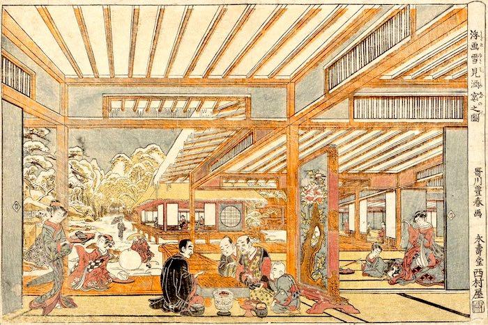 雪景色を楽しみながら酒宴(『浮画雪見酒宴之図』歌川豊春 画)