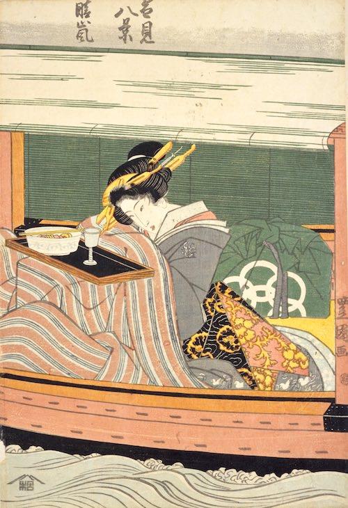 雪見船に乗る江戸時代の女性(『雪見八景』「晴嵐」初代歌川豊国 画)