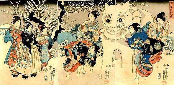 """雪だるまならぬ""""猫だるま""""(『初雪の戯遊』歌川国芳 画)"""