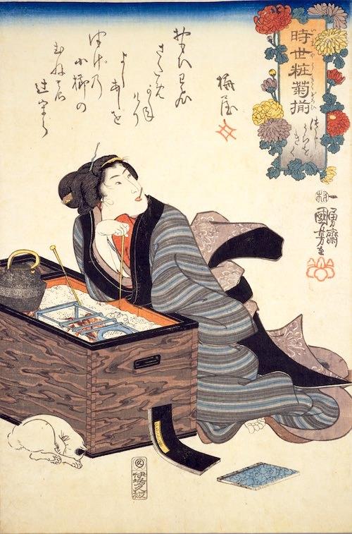 江戸時代の火鉢(『時世粧菊揃(いまようきくぞろい)』「つじうらをきく」歌川国芳 画)