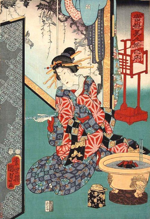 江戸時代の丸火鉢(『当盛美人揃之内』「しんさがみや、とこ」二代歌川国貞 画)