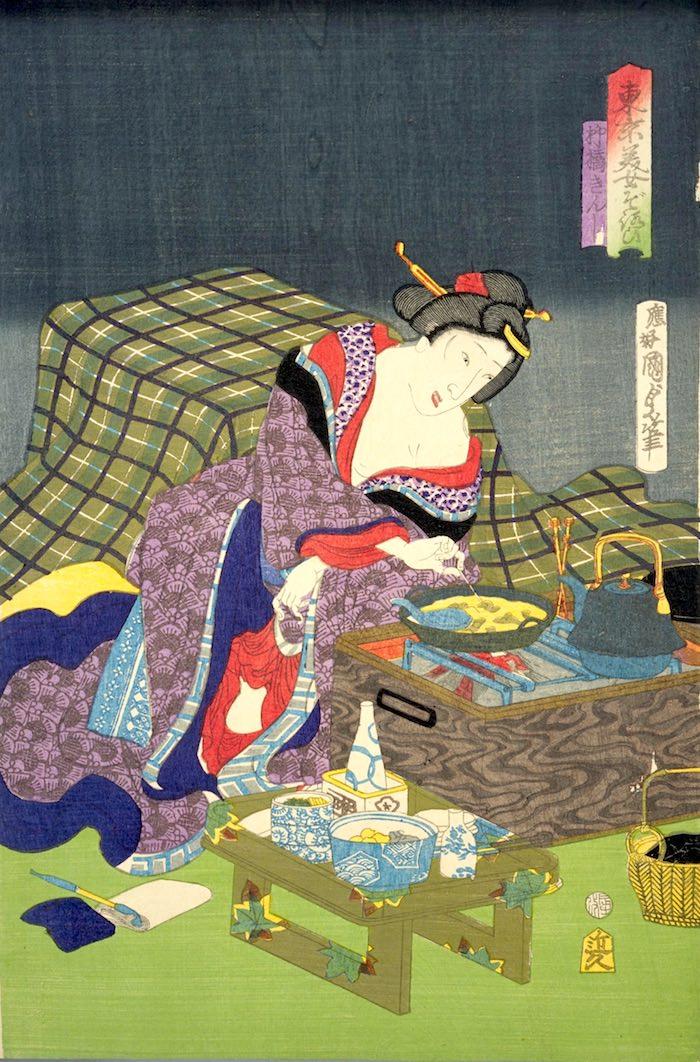 江戸時代の長火鉢(『東京美女そろひ』「柳橋きんし」二代歌川国貞)の拡大画像