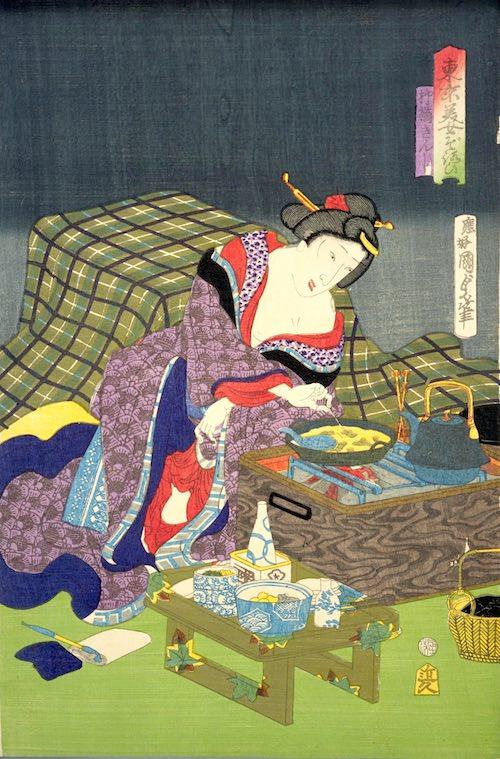 江戸時代の長火鉢(『東京美女ぞろひ』「柳橋きんし」二代歌川国貞 画)