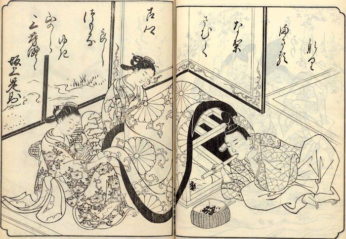 江戸時代の掘りごたつ(『絵本和歌浦』より)