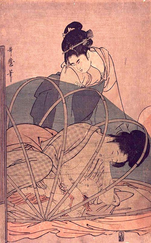 『布呂蚊帳』(喜多川歌麿 画)