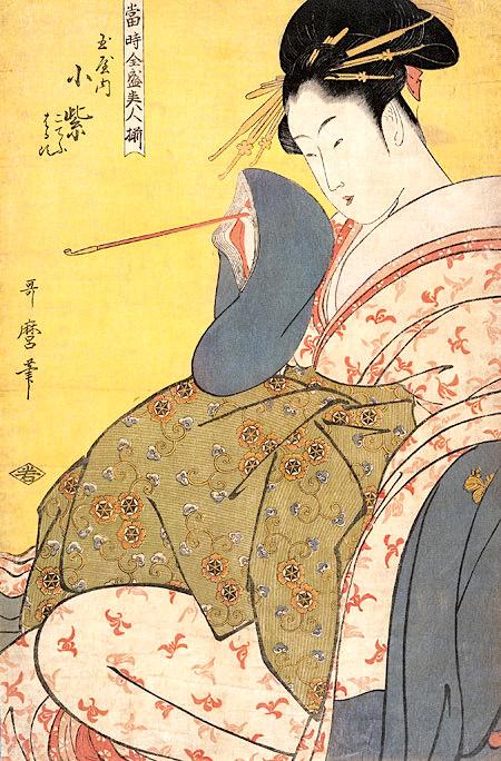 当時全盛美人揃「玉屋内小紫」(喜多川歌麿 画)