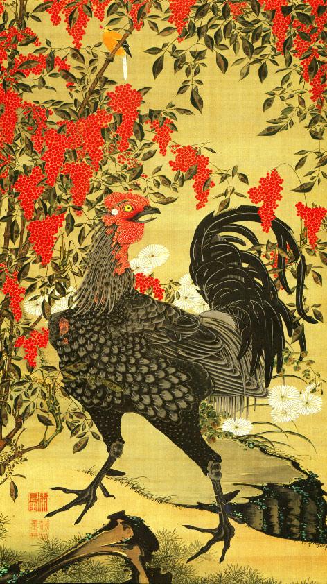 『動植綵絵(どうしょくさいえ)』より「南天雄鶏図」(伊藤若冲 画)