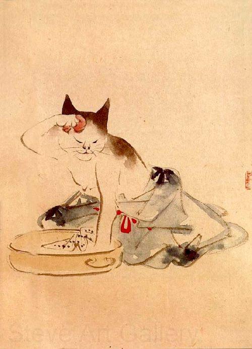 『猫の化粧』(歌川広重 画)