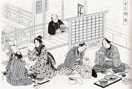 雁鍋料理専門店で食事をする人々(『江戸庶民風俗図絵』より)