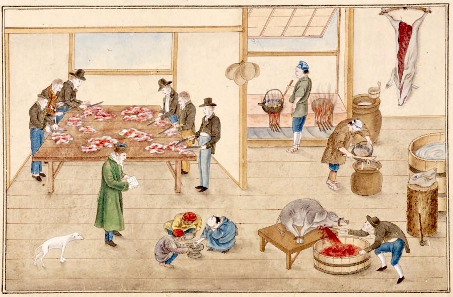 『唐蘭館絵巻』「調理室図」(川原慶賀 画)の拡大画像