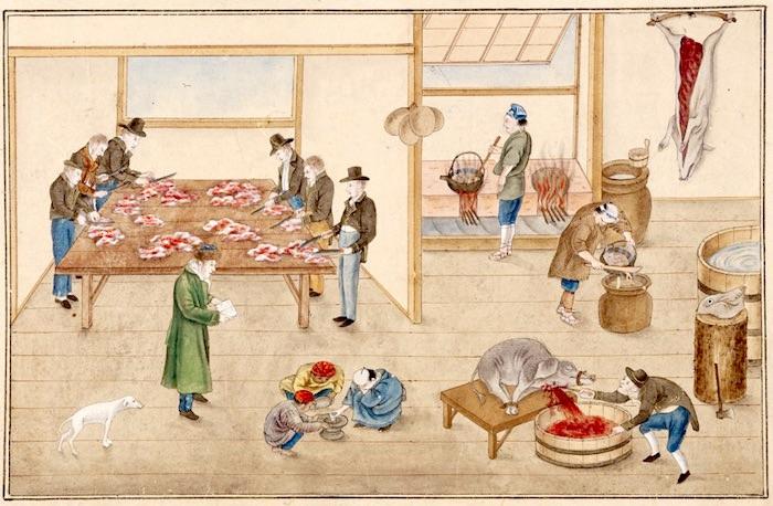 『唐蘭館絵巻』「調理室図」(川原慶賀 画)