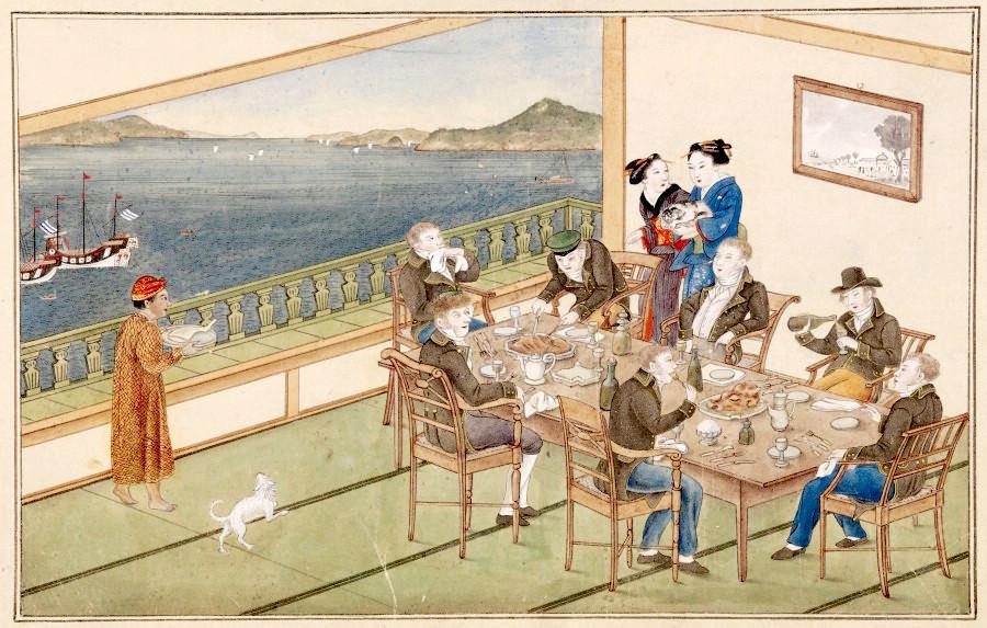 『唐蘭館絵巻』「宴会図」(川原慶賀 画)の拡大画像