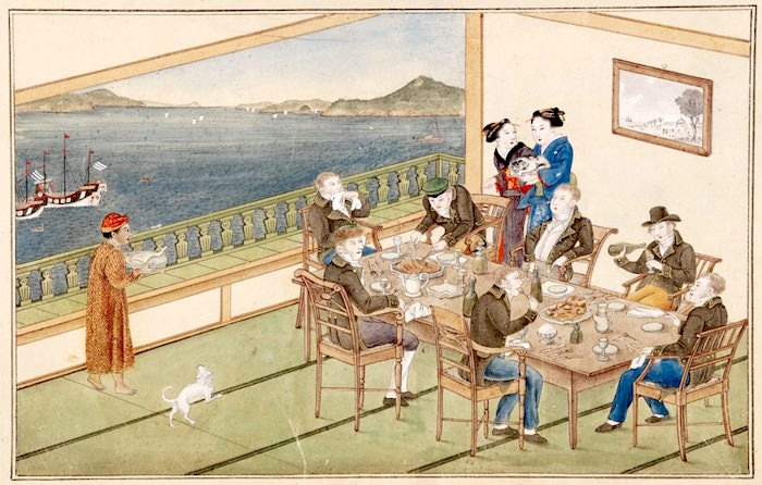 『唐蘭館絵巻』「宴会図」(川原慶賀 画)