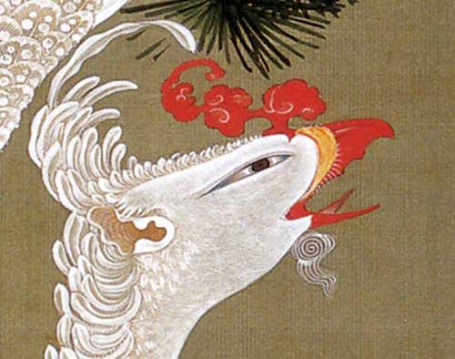 『動植綵絵(どうしょくさいえ)』より「老松白鳳図(ろうしょうはくほうず)」(伊藤若冲 画)における鳳凰の眼差し