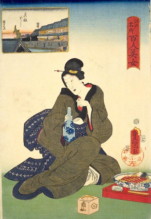 『江戸名所百人美女』「呉服ばし」(三代歌川豊国 画)