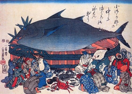 『魚づくし』「小魚の中の鮪の涅槃像」(歌川芳員 画)