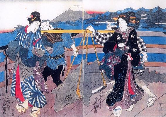『魚づくし』「日本橋の朝景色」(三代目歌川豊国 画)