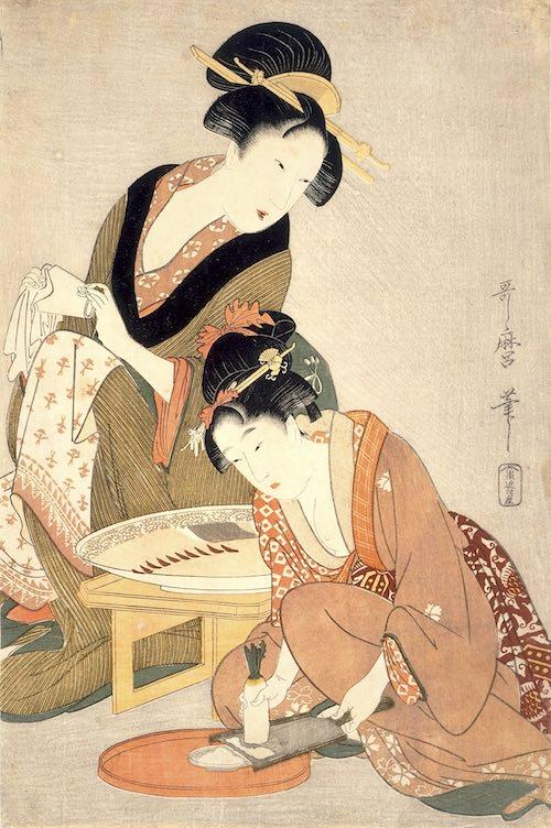 『料理をする母娘』(喜多川歌麿 画)