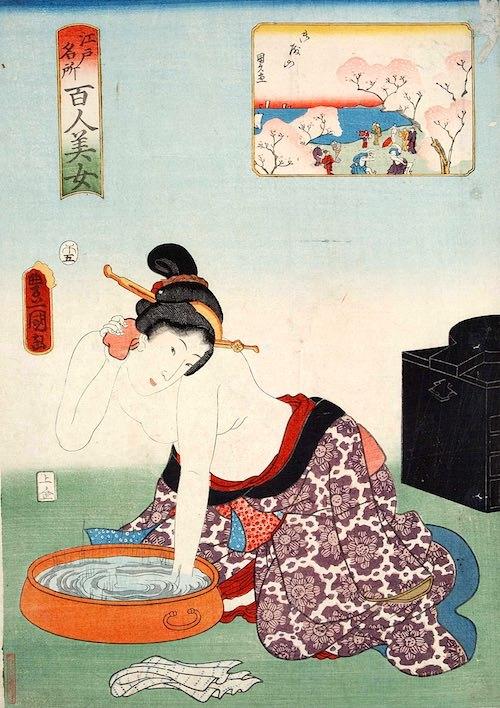 顔を洗う江戸時代の女性(『江戸名所百人美女』「御殿山」より、三代歌川豊国 画)