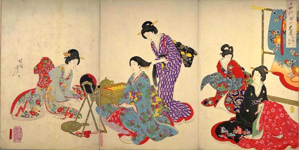 『千代田之大奥』「お櫛あげ」(楊洲周延 画)の拡大画像