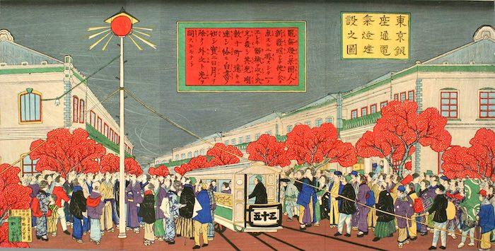 『東京銀座通電気燈建設之図』(野沢定吉 画)