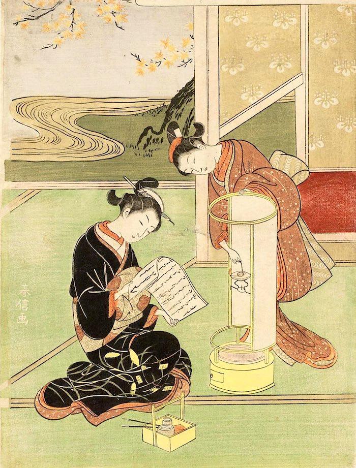 江戸時代の丸行灯(『座敷八景』「行灯の夕照」鈴木春信 画)の拡大画像
