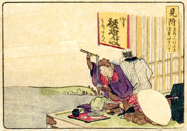 蕎麦を食べる江戸時代のご隠居(『東海道五十三次』「見附」葛飾北斎)の拡大画像