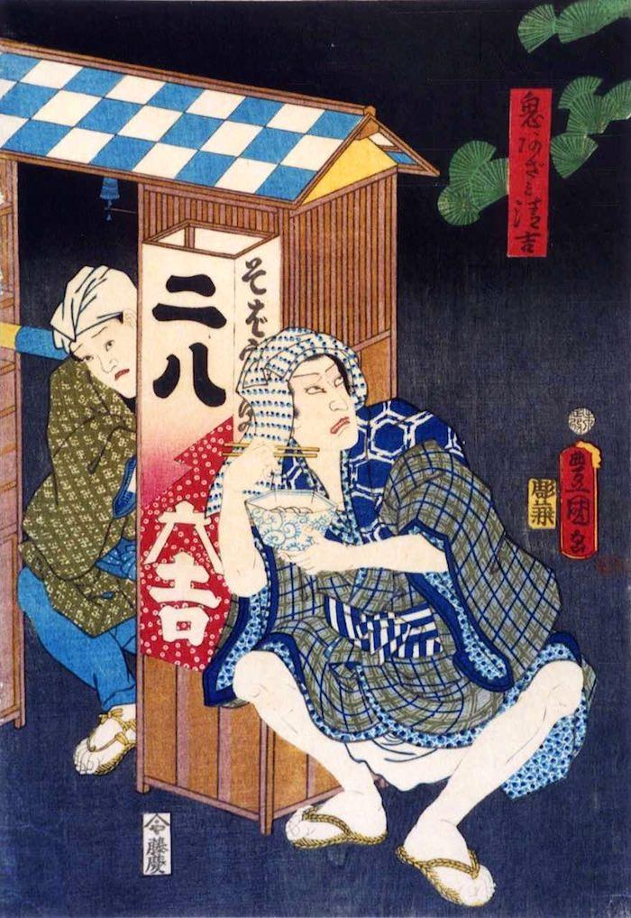 江戸時代の蕎麦屋の屋台(『鬼あざみ清吉』歌川豊国)の拡大画像