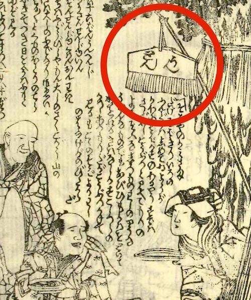 江戸時代の蕎麦屋の看板(『諸国道中金の草鞋』より)