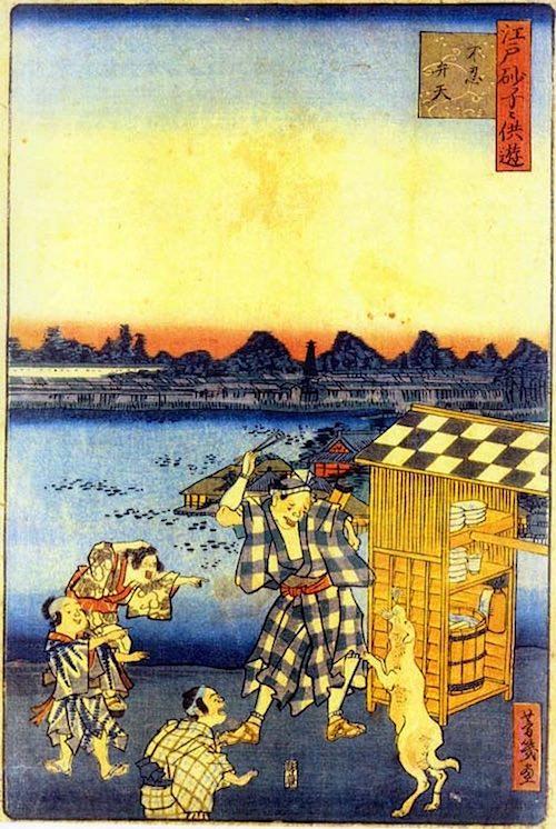 江戸時代の蕎麦屋の屋台(『江戸砂子々供遊』「不忍弁天」歌川芳幾)