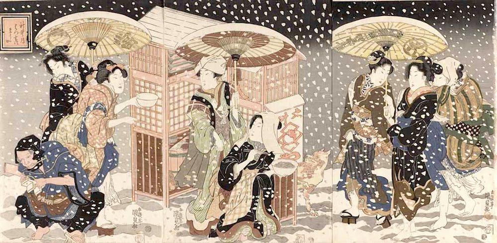 江戸時代の夜鷹そば(『神無月 はつ雪のそうか』三代歌川豊国)の拡大画像