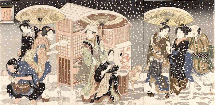 江戸時代の夜鷹そば(『神無月 はつ雪のそうか』三代歌川豊国)