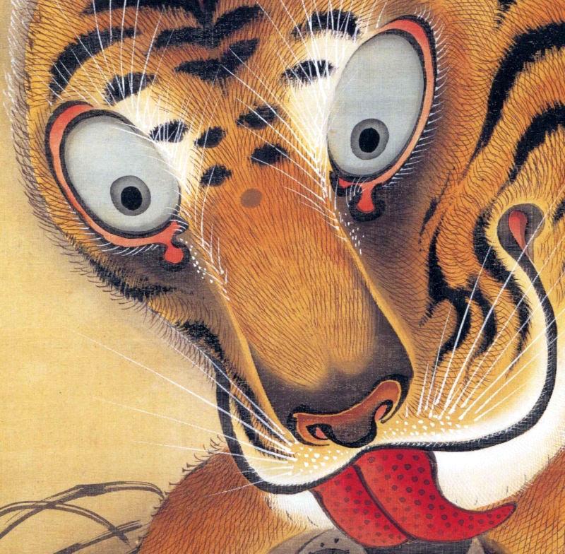 『虎図』(伊藤若冲 画)における虎の顔(拡大画像) – 江戸 ...