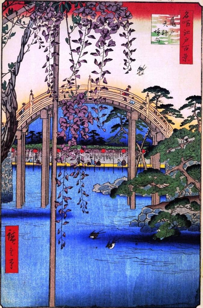 『名所江戸百景』「亀戸天神境内」(歌川広重 画)の拡大画像