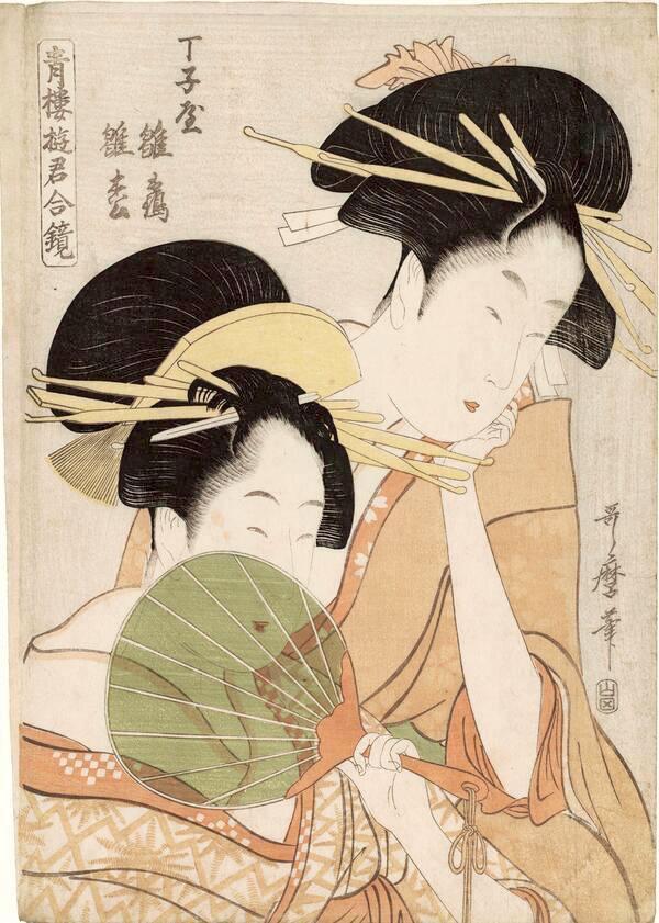 『青楼遊君合鏡』「丁子屋 雛鶴 雛松」(喜多川歌麿 画)の拡大画像