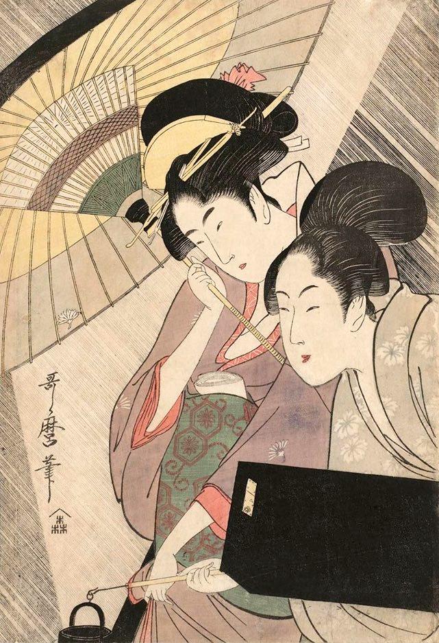 『夜の雨に芸者と三味線箱を持つ女』(喜多川歌麿 画)の拡大画像