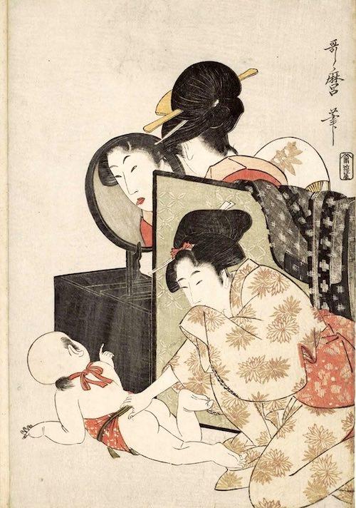 『のぞく』(喜多川歌麿 画)