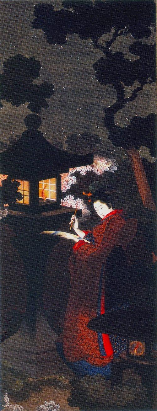 『夜桜美人図』(葛飾応為 画)