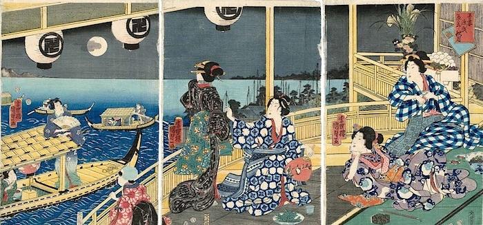 『吾妻源氏 辰美の秋月』(歌川国貞 画)