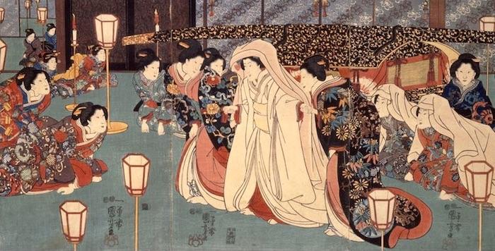 江戸時代における結婚式のようす(『三定例之内婚礼之図』歌川国芳 画)