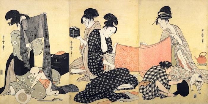 『針仕事』(喜多川歌麿 画)