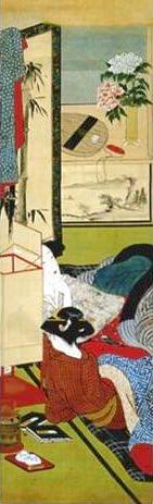 『婦女風俗十二ヶ月』「杜鵑(ほととぎす)」部分 (勝川春章 画)