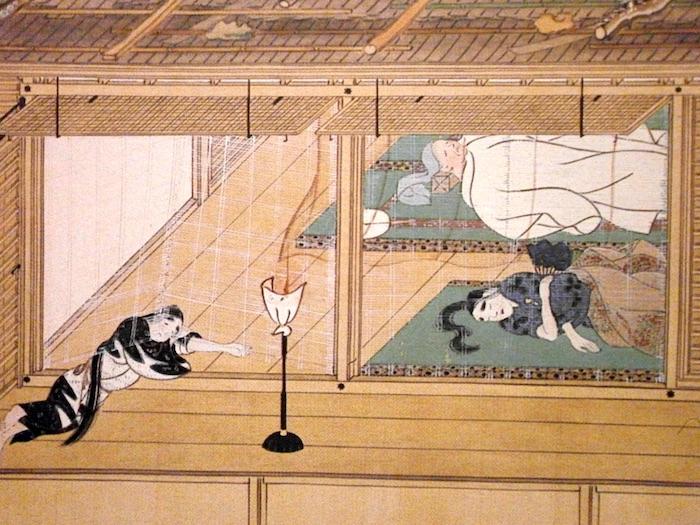 鎌倉時代における上流階級の寝室(『春日権現験記絵』巻七部分)