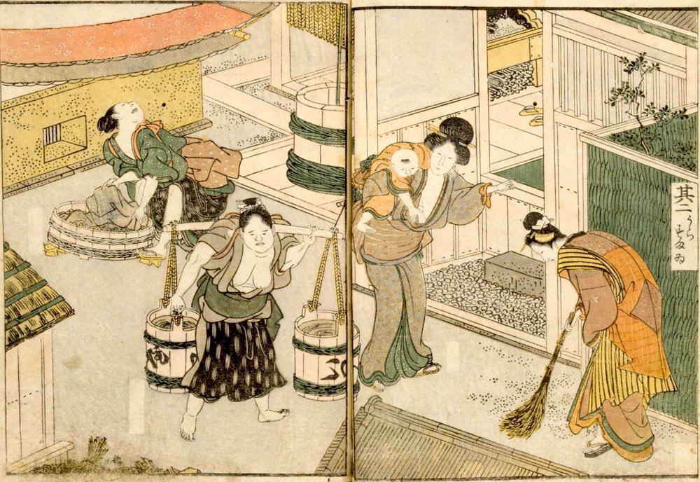 長屋で暮らす人々(『絵本時世粧(えほんいまようすがた)』より/歌川豊国 画)の拡大画像