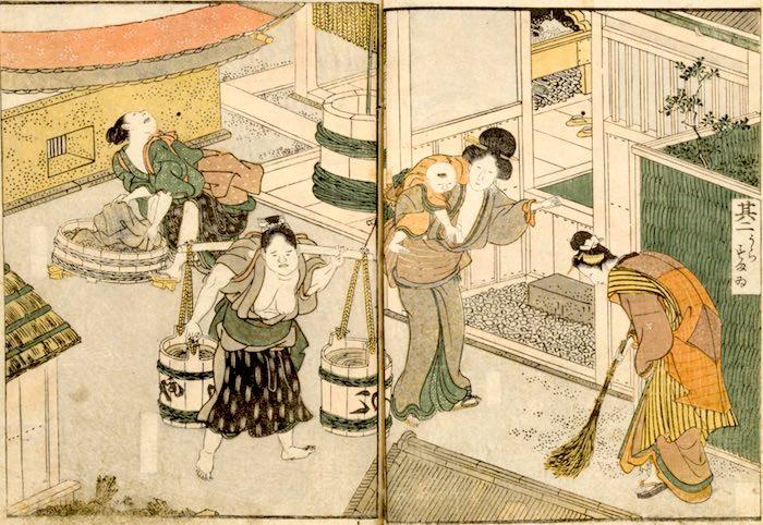 長屋で暮らす人々(『絵本時世粧(えほんいまようすがた)』より/歌川豊国 画)