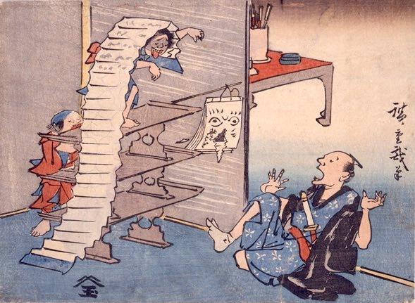 『広重戯画』「寺子屋遊び」(歌川広重 画)