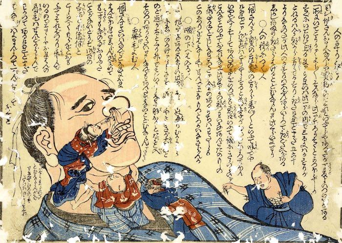「鼻毛を読む」(『諺臍の宿替』/一荷堂半水 文/歌川芳梅 画)