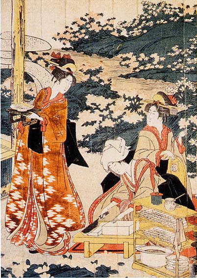 女性たちが豆腐田楽を調理中(『豆腐田楽を作る美人』歌川豊国 画)