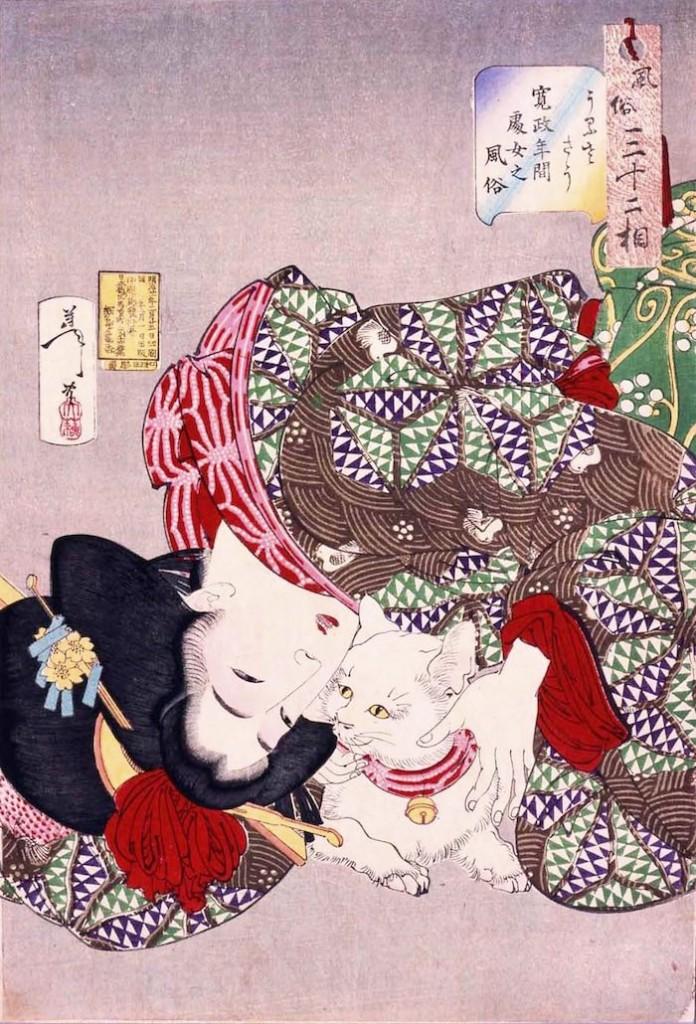 江戸時代の浮世絵にもたびたび登場する猫(『風俗三十二相』「うるささう」月岡芳年 画)の拡大画像